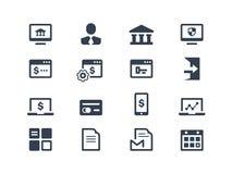 Online-bankrörelsesymboler Royaltyfria Bilder