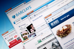 Online Banks Web Sites Stock Photo
