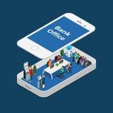 Online Bankwezen 3d vlakke isometrische bedrijfsvector i Royalty-vrije Stock Afbeelding