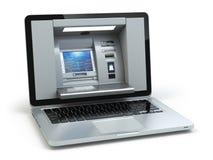 Online bankwezen en betalingsconcept Laptop als ATM-machineisola Stock Fotografie