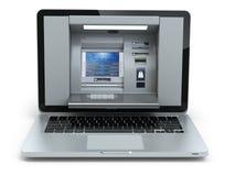 Online bankwezen en betalingsconcept Laptop als ATM-machineisola Stock Afbeelding