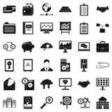 Online bedrijfs geplaatste pictogrammen, eenvoudige stijl Royalty-vrije Stock Fotografie