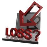Online bedrijfsverlies en mislukkingspictogram Royalty-vrije Stock Afbeeldingen