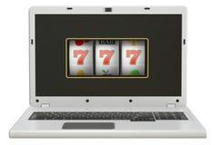 online-begrepp för dobbleri 3D, bärbar datorenarmad bandit Arkivfoto