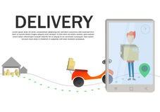 Online-begrepp för hemsändningvektorillustration Kurirpojke som levererar asken stock illustrationer