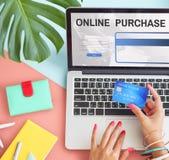 Online-begrepp för kommers för köpinternetshopping Arkivbilder