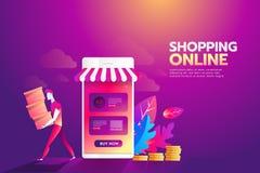 Online-begrepp för shoppinglägenhetillustration Moderna plana designbegrepp för rengöringsdukbaner, webbplatser, utskrivavna mate vektor illustrationer