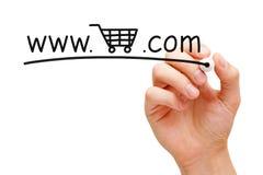 Online-begrepp för shoppingvagn Fotografering för Bildbyråer