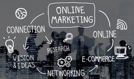 Online-begrepp för vision för strategi för marknadsföringsDigital nätverkande arkivbild