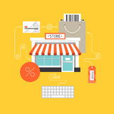 Online-begrepp för shoppinglägenhetillustration Royaltyfri Foto