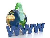 Online-begrepp vid den gröna pilinternet adress stock illustrationer
