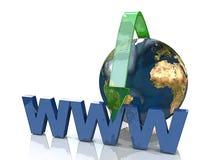 Online-begrepp vid den gröna pilinternet adress vektor illustrationer