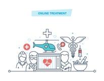 Online-behandling Ambulansmobilservice, medicinsk sjukvård Online-medicinsk konsultation royaltyfri illustrationer