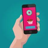 Online-beställningssötsaker och kakor via internet royaltyfri illustrationer