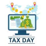 Online betalingssysteem De toepassing van het rekeningsbankwezen voor computers royalty-vrije illustratie