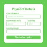Online betalingsvorm Online digitale rekening op laptop Vector illustratie stock afbeelding