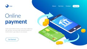 Online-betalning med smartphonen E-kommers transaktion Kontokort och en bunt av mynt p? bakgrunden av telefonen vektor illustrationer