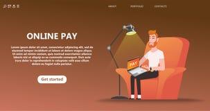 Online-betalning, s?ker s?ker pengar?verf?ring royaltyfri illustrationer
