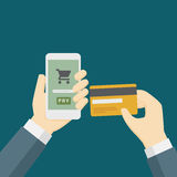 Online-betalning som bearbetar med kreditkorten Royaltyfri Fotografi