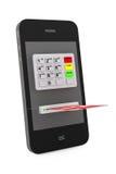 Online-betalningbegrepp. Mobiltelefon med ATM och kreditkorten Royaltyfri Fotografi