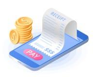 Online-betalningräkningen med mobiltelefonen Isometrisk plan vektor arkivfoto