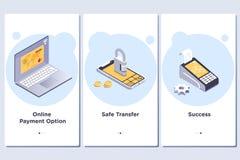 Online-betalningtema Vektorillustration av onboarding appskärmar och rengöringsdukbegreppet stock illustrationer