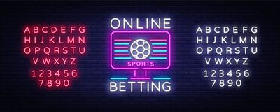 Online betting neon sign. Sports betting. Online betting logo, neon symbol, light banner, bright night advertising. Gambling, casino. Vector. Editing text neon royalty free illustration