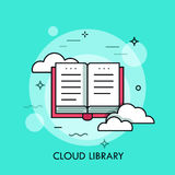 Online biblioteka, płaskiego projekta cienki kreskowy sztandar ilustracja wektor