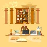 Online-bibliotekarie för bokhyllor för arkivutbildningsbegrepp stock illustrationer