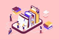 Online bibliotheekmedia en boeken royalty-vrije illustratie