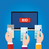 Online bidding auction laptop bid button hand raised money cash. Vector Royalty Free Stock Images