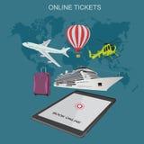 Online bilety, rezerwacja, płaska wektorowa ilustracja Obrazy Stock