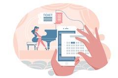 Online-biljett för konsert vektor illustrationer