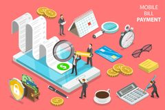 Online bill payment flat isometric vector concept. Flat isometric vector concept of online bill payment, shopping, banking, accounting Stock Photo