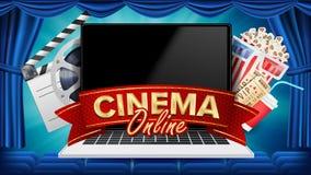 Online-bioaffischvektor Modernt bärbar datorbegrepp Hem- online-bio teater för gardinfilmpresentation Packe mycket av banhoppning royaltyfri illustrationer