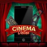 Online-bioaffischvektor Modernt begrepp för mobilSmart telefon Goda för reklambladet, baner, marknadsföring Filmrulle, Clapper vektor illustrationer