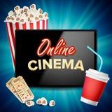 Online-biobanervektor Realistisk minnestavla Popcorn drink som applåderar brädet Affischtavla som marknadsför den lyxiga illustra vektor illustrationer