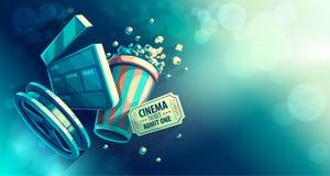 Online-biokonstfilm som håller ögonen på med popcorn royaltyfri illustrationer