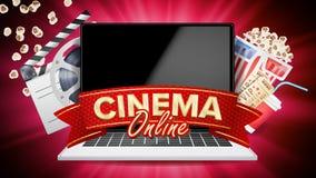 Online-biovektor Baner med bärbara datorn Beståndsdelar för filmbransch Filmband för filmkonst Affischtavla Promobegrepp vektor illustrationer