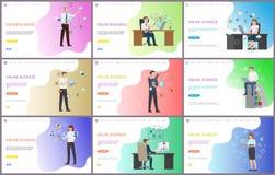 Online biznes, biznesmena obsiadanie w biurze ilustracja wektor