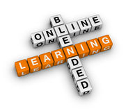 Online blended learning. (orange-white crossword puzzles series Stock Image
