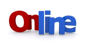 Online in blue and red Royalty Free Stock Photo