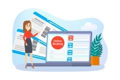 Online boekend vliegtuigkaartje op apparaat royalty-vrije illustratie