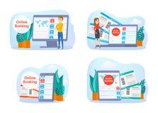 Online boekend vliegtuigkaartje op apparatenreeks royalty-vrije illustratie