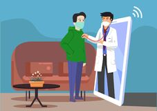 Free Online Book Doctor For Home Visit During The Lock Down Through Smart Phone. Online Health Check-up At Home With Mobile Application Royalty Free Stock Photo - 181146875