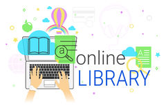 Online book and electronic library app on laptop creative concept vector illustration Stock Images