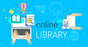 Online book and electronic library app on laptop creative concept vector illustration Royalty Free Stock Image