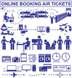 Online booking air tickets. Set vector stick figures and pictograms. Travel air flight icons and elements Stock Images