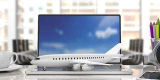 Airplane on a computer keyboard, blur office background. 3d illustration. Online booking. Airplane on a computer laptop, front view, blur office background. 3d Royalty Free Stock Image