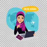 Online booking banner on transparent background. Air Tickets Online Booking. Arab woman selling airplane tickets. Online booking banner on transparent background Stock Image